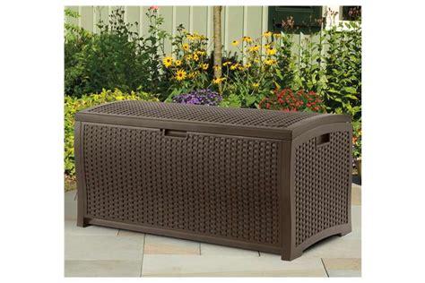 suncast decorative outdoor wicker deck box 73 gallon