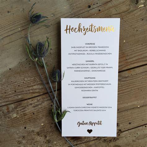 menuekarte mit goldpraegung wedding stationery