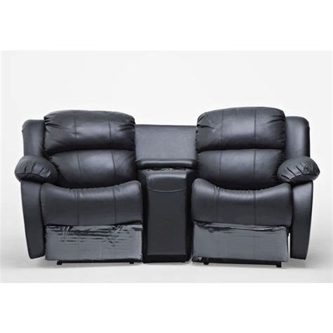 Reclining Loveseat With Cupholders by 2 Seat Leather Recliner Lounge Sofa W Cup Holders Buy