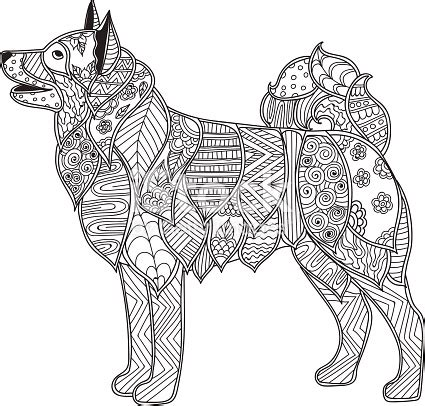 dog adult antistress  children coloring page stock vector art  images  abstract