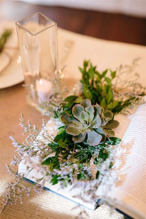Clever Diy Book And Succulent Wedding Centerpieces