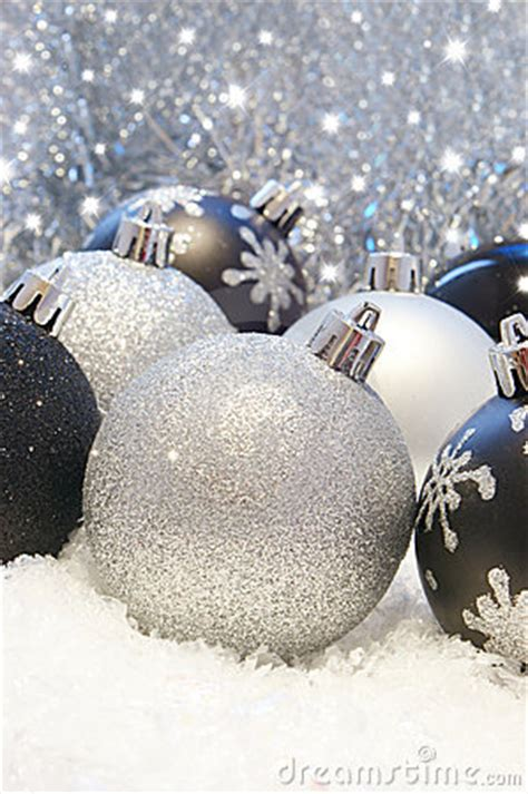silver  black christmas decorations stock