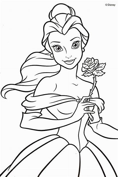 Coloring Belle Disney Pages Beast Beauty Princess