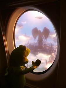 Kermit looking out an airplane window : photoshopbattles