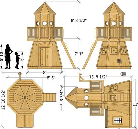 """If you've been wanting to add storage to your laundry room, these laundry room cabinet plans are for very budget friendly cabinets. 8x11 """"Little Lighthouse"""" Playhouse Plan for Kids - Paul's Playhouses"""