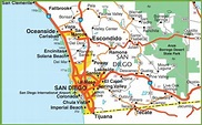 San Diego area map - Map of San Diego area (California - USA)