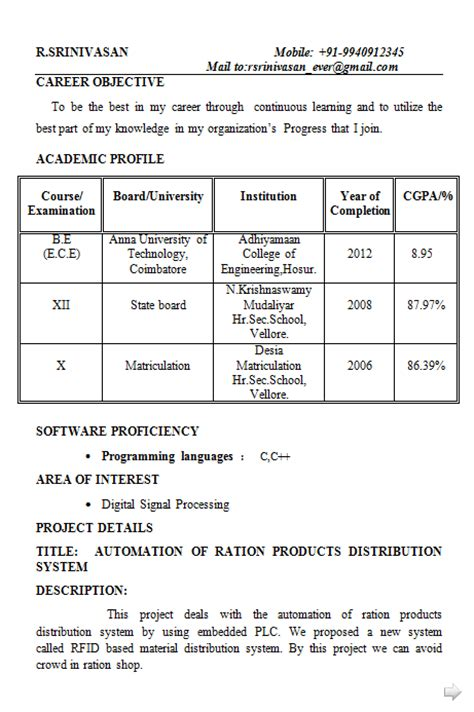 Electronics Resumes For Freshers by Fresher Electronics Engineering Student Resume Format
