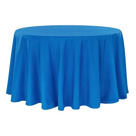 "Economy Polyester Tablecloth 132"" Round Royal Blue CV"