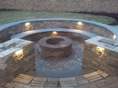 pit seating in ground fire pit with seating firepit with bluestone seating and pillars bookmark the