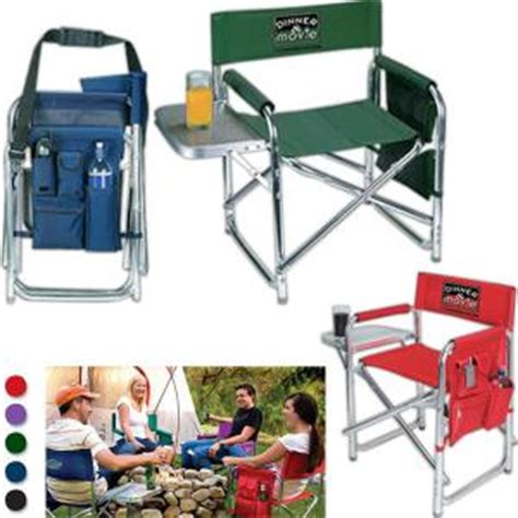 deluxe folding chair with attached table with logo