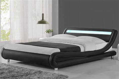 mattress size madrid led lights modern designer bed black faux leather