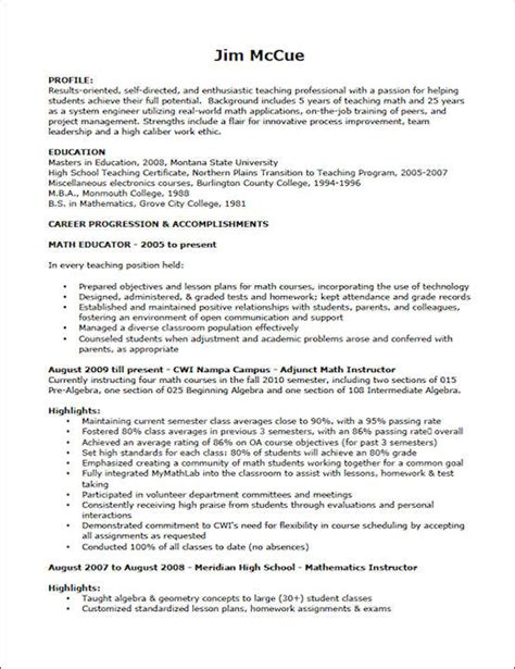 teaching resume exle sle resume