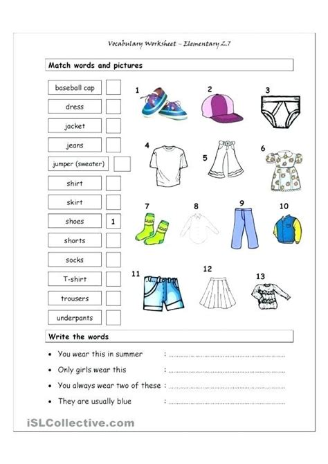 clothes worksheets kids vocabulary worksheet animals