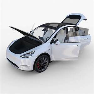 Tesla Model Y White with interior 3D | CGTrader