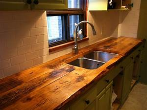 Custom kitchen counter with reclaimed wood - Traditional