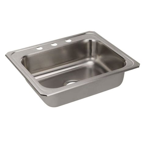 single basin stainless steel sink elkay celebrity drop in stainless steel 25 in 3 hole