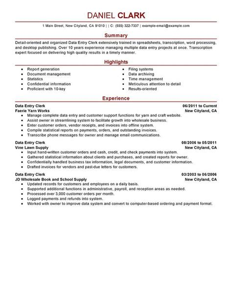 Data Entry Resume by Data Entry Clerk Resume Sle Ideas For The House