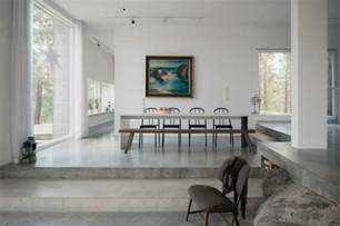 wohnzimmer mit essbereich schwedische haus design idee mit malerischer landschaft