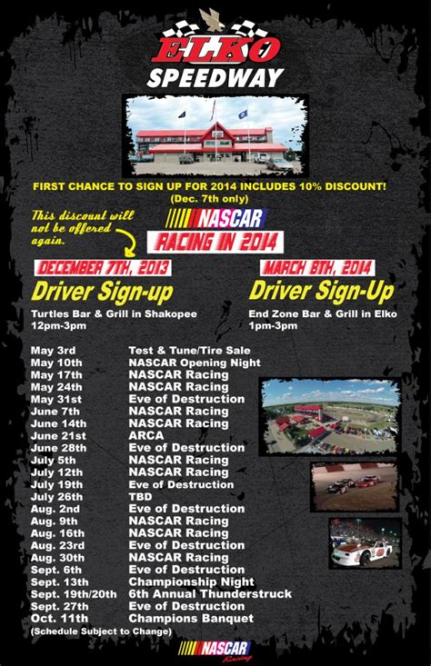 Elko Speedway   Schedule