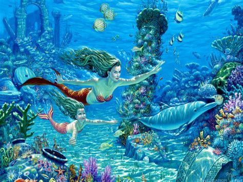 Beautiful Dolphins Underwater Mermaid