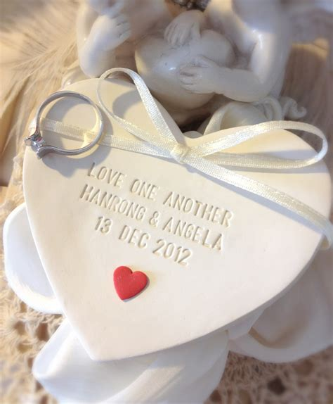 custom heart of love wedding ring bearer bowl with red