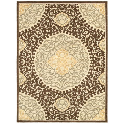 lowes area rugs shop allen roth thorndale rectangular brown floral woven area rug common 5 ft x 8 ft actual