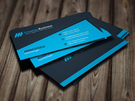 Blue Creative Business Card Template For  Business Card Size Photo Fridge Magnets Cards Mockup Templates Ad Template Flash Drive Powerpoint Sticky Labels Indesign