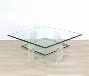 nice large lucite and glass square coffee table for sale With large square acrylic coffee table