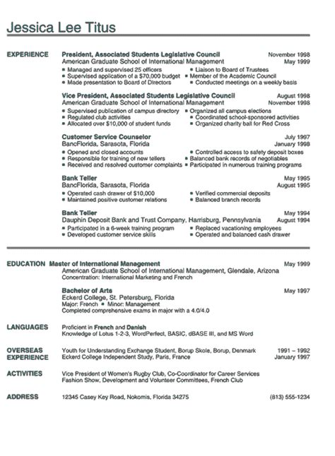 college resume exle sle business and marketing
