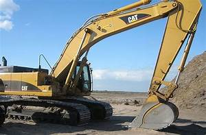 A  Cat Excavator Getting Ready To Move Some Dirt