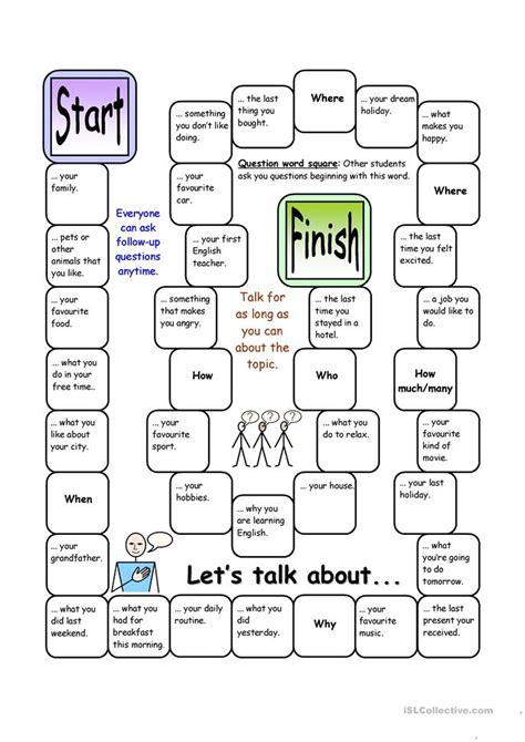 board game lets talk  elementary worksheet