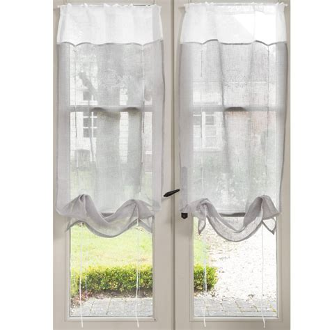 rideaux cuisine gris rideau court avec broderie en gris 60 x 120 cm marquise maisons du monde