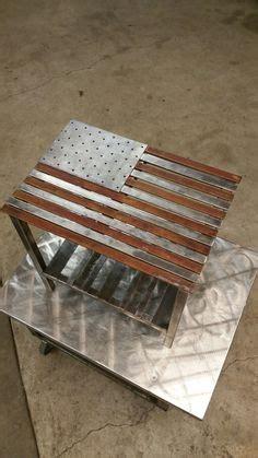 hand oiled pine  polished steel  flag
