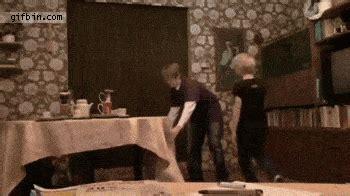 impressive table cloth magic trick ends badly