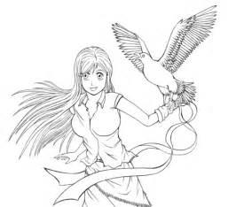 ausmalbild inoue orihime aus dem anime bleach