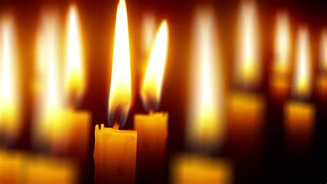Many Candles With Shallow Depth  Religious Theme On Black Close Perspective  Hd Stock Video Clip