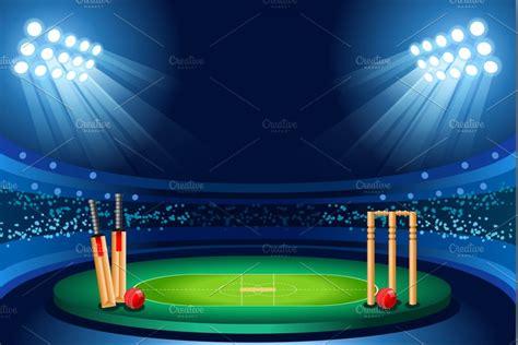 cricket stadium vector background illustrations