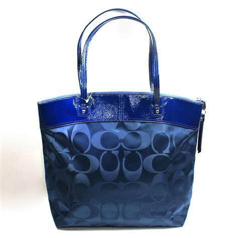 coach laura signature navy blue nylon tote shoulder bag  coach