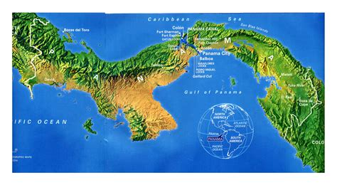 Large detailed map of Panama with relief and cities ...