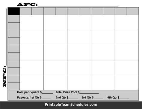 super bowl board bowl squares 2016 template 100 squares
