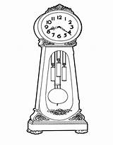 Clock Grandfather Coloring Draw Pages Cartoon Drawings Drawing Clocks Father Colorluna Melting Sheets Luna Step sketch template