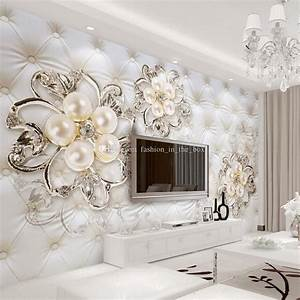 Custom d wallpaper for walls crystal pearl flowers