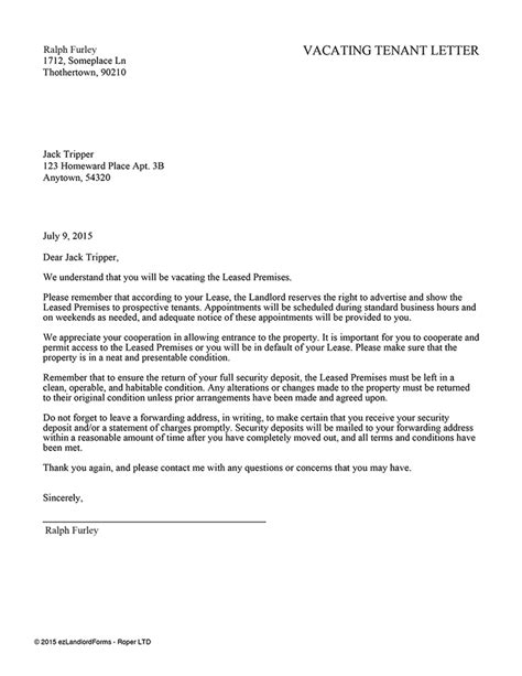 tenant vacate notice sample notice letter