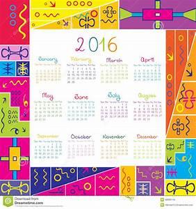 Calendario 2016 Con El Marco Para Los Niños Ilustración