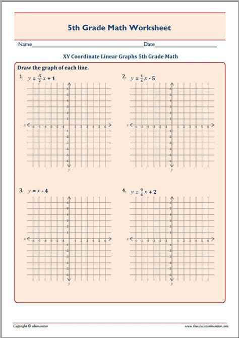 5th grade math worksheets xy graphs 5th best free