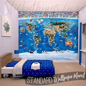wall world map mural peenmediacom With best brand of paint for kitchen cabinets with colorful world map wall art