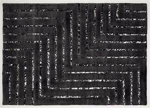Teppich New York : leder viskose teppich new york 170 x 240 cm schwarz silber teppich vintage ~ Orissabook.com Haus und Dekorationen
