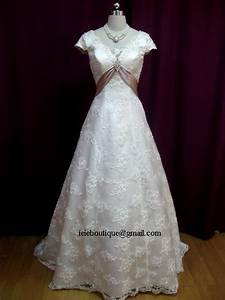 cm1029 lace overlay a line wedding dress with empire waist With empire waist wedding dress with sleeves