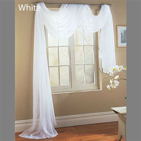 Scarf Drapes - white scarf sheer voile window treatment curtain drapes