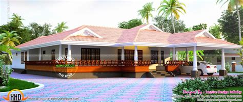 wide single storied sloped roof villa kerala home design  floor plans